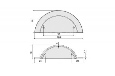 HN-M-3978-64-BSN Ручка-ракушка 64мм, отделка никель шлифованный