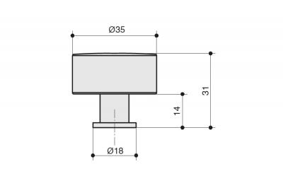 KB-B-4156-35-BLNKL Ручка-кнопка, отделка никель черный глянец