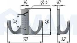 Z-341.G2 ARGUS Крючок двухрожковый хром
