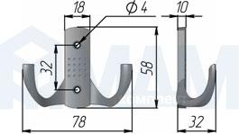 Z-341.G5 ARGUS Крючок двухрожковый никель матовый