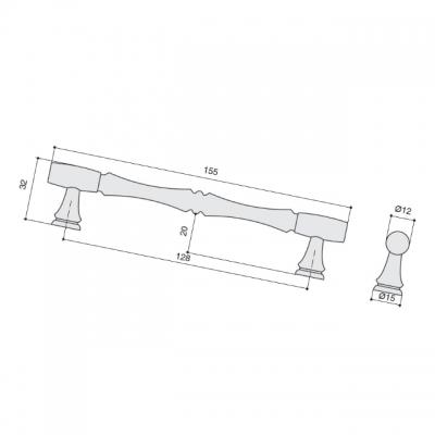 Ручка-скоба 128мм, отделка бронза темная WMN.766X.128.M00B1