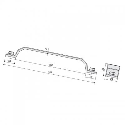 Ручка-скоба 160мм, отделка железо черное винтаж WMN.760X.160.M00T2