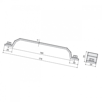 Ручка-скоба 160мм, отделка олово винтаж WMN.760X.160.M00C7