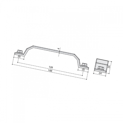 Ручка-скоба 128мм, отделка олово винтаж WMN.760X.128.M00C7