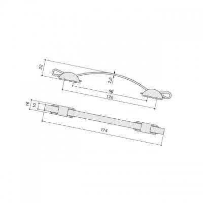 Ручка-скоба 96/128мм, отделка мокко + сталь нержавеющая WMN.403W.K16.M03A1
