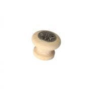 Ручка-кнопка, отделка железо + дерево под покраску S367-35HZ5ZN29