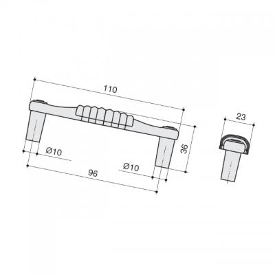 Ручка-скоба 96мм, отделка золото глянец + керамика M338.96.KGP