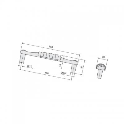 Ручка-скоба 128мм, отделка золото глянец + керамика M338.128.KGP