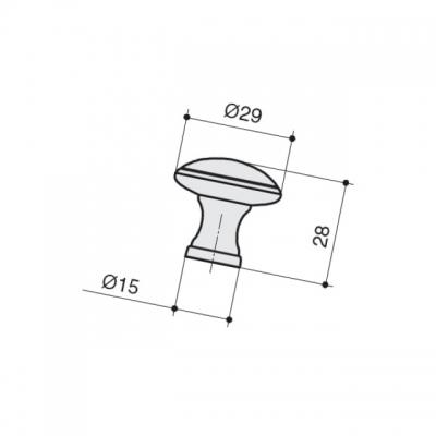 Ручка-кнопка, отделка серебро старое M331.K.RAS