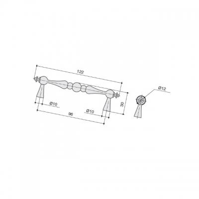 Ручка-скоба 96мм, отделка серебро старое M331.96.RAS
