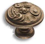 012035M Ручка кнопка, латунь, полированная сталь