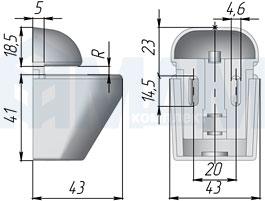 SU02ACR ПЕЛИКАН Менсолодержатель для деревянных и стеклянных полок 4 - 22 мм, хром