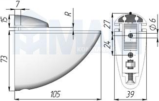 SU03ACR ПЕЛИКАН Менсолодержатель для деревянных и стеклянных полок 4 - 40 мм, хром
