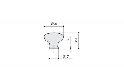 P03.01.122.27MM Ручка-кнопка, отделка медь античная + керамика