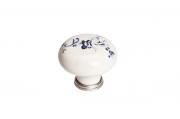 P03.01.25.15MM Ручка-кнопка, отделка серебро старое + керамика