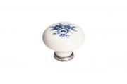 P03.01.69.15MM Ручка-кнопка, отделка серебро старое + керамика