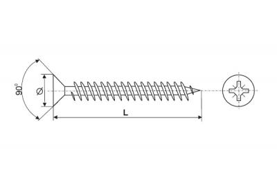 04502030020B3 Шуруп-саморез 3х20мм, головка потай, шлиц PZ1, отделка цинк (за 1000штук)