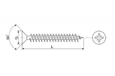 04502035030B3 Шуруп-саморез 3,5х30мм, головка потай, шлиц PZ2, отделка цинк (за 500штук)