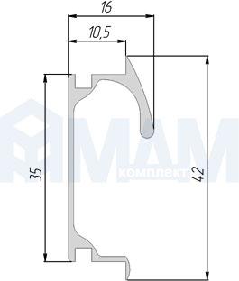 PH.RU05.3000.ALPR Профиль-ручка крепление саморезами алюминий матовый, L-3000мм