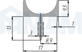 PH.RU06.3000.ALPR Профиль-ручка врезная для фасада 16/18мм, алюминий матовый, L-3000мм