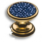 07150-315 Ручка кнопка c синими кристаллами Swarovski, цвет - глянцевое золото