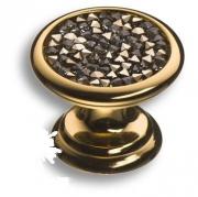 07150-317 Ручка кнопка c серебряными кристаллами Swarovski, цвет - глянцевое золото