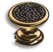 07150-320 Ручка кнопка c чёрными кристаллами Swarovski, цвет - глянцевое золото
