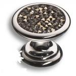 07150-517 Ручка кнопка c серебрянными кристаллами Swarovski, цвет - глянцевый хром