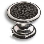 07150-520 Ручка кнопка c чёрными кристаллами Swarovski, цвет - глянцевый хром