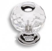 0737-005-1 Ручка кнопка, латунь с кристаллом, глянцевый хром