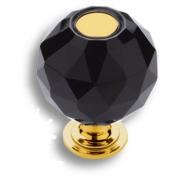 0737-320-2-BLACK Ручка кнопка, латунь с черным кристаллом, глянцевое золото