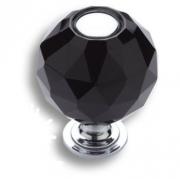 0737-520-2-BLACK Ручка кнопка, латунь с чёрным кристаллом, глянцевый хром