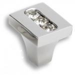 0771-005-1 Ручка кнопка, латунь с кристаллами Swarovski, глянцевый хром