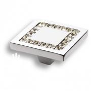 0771-005-3 Ручка кнопка, латунь с кристаллами Swarovski, глянцевый хром