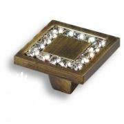 0771-013-2 Ручка кнопка, латунь с кристаллами Swarovski, старая бронза