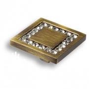 0771-013-3 Ручка кнопка, латунь с кристаллами Swarovski, старая бронза