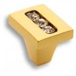 0771-030-1 Ручка кнопка, латунь с кристаллами Swarovski, глянцевое золото 24K