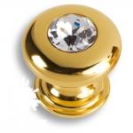 0775-003-2 Ручка кнопка, латунь с кристаллом Swarovski, глянцевое золото
