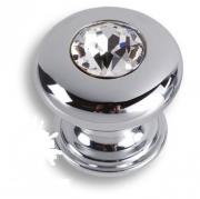 0775-005-2 Ручка кнопка, латунь с кристаллом Swarovski, глянцевый хром