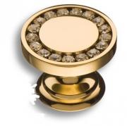 0776-003 Ручка кнопка, латунь с кристаллами Swarovski, глянцевое золото