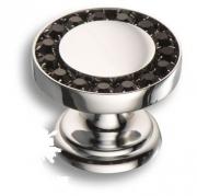 0776-005 BLACK Ручка кнопка, латунь с чёрными кристаллами Swarovski, глянцевый хром