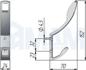 RW0808 QUADRA Крючок двухрожковый хром матовый