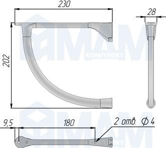 AZ.095.BA Менсолодержатель для деревянных полок L-230 мм, бронза состаренная (2 шт.)