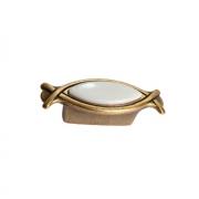 Ручка-кнопка 32мм, отделка бронза античная красная + вставка 10.825.B25-102