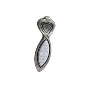 Ручка-кнопка 16мм, отделка серебро античное + вставка 9.1351.0016.17-118