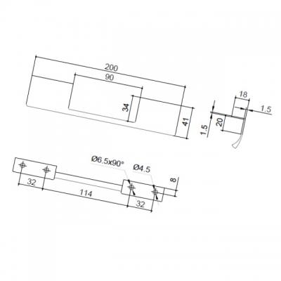 Ручка-скоба L.200мм, отделка сталь шлифованная 419820200-66