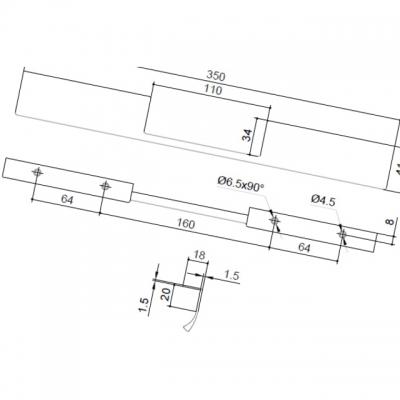 Ручка-скоба L.350мм, отделка сталь шлифованная 419820350-66.1