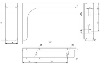 AA1.A012.DE2F2 Менсолодержатель Leonardo 12, отделка хром глянец, комплект 2 штуки
