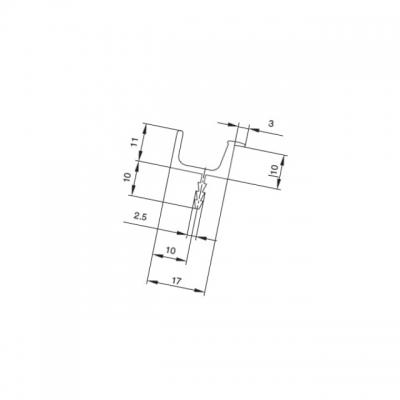Профиль-ручка под пропил, L=5000мм, отделка алюминий 901304.61.00 5000.0