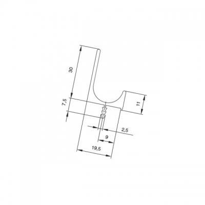 Профиль-ручка под пропил, L=5000мм, отделка алюминий 900450.61.00 5000.0